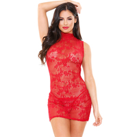 Ariel Lace Dress With Thong - Red - One Size