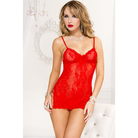 Music Legs Lace Dress - Red