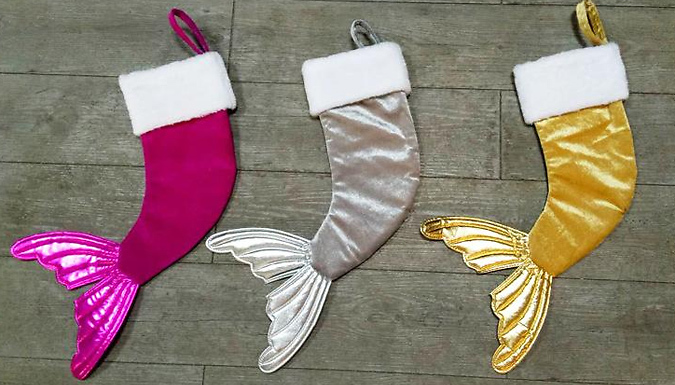 Sequin Mermaid Tail Christmas Stocking - 3 Colours