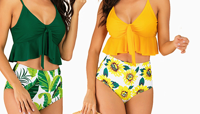 Floral Tie-Front Ruffle Tankini - 4 Colours & 4 Sizes