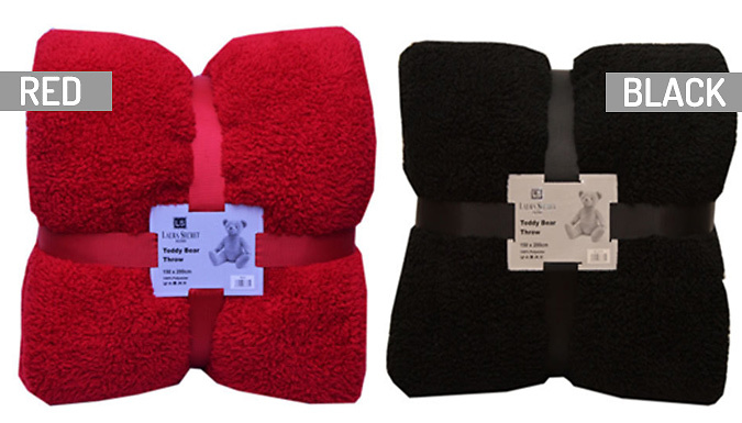 Soft Large Teddy Throw - 9 Colours