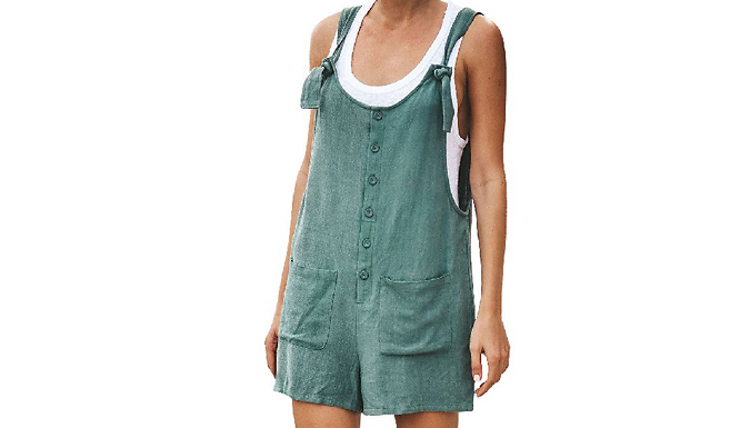 Casual Linen-Style Summer Playsuit - 3 Colours & 5 Sizes