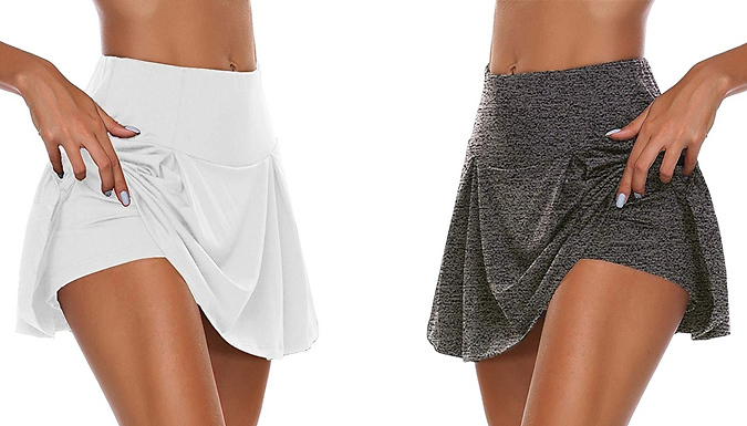 1 or 2-Pack of Double Layer Skirts With Built-in Shorts - 4 Colours