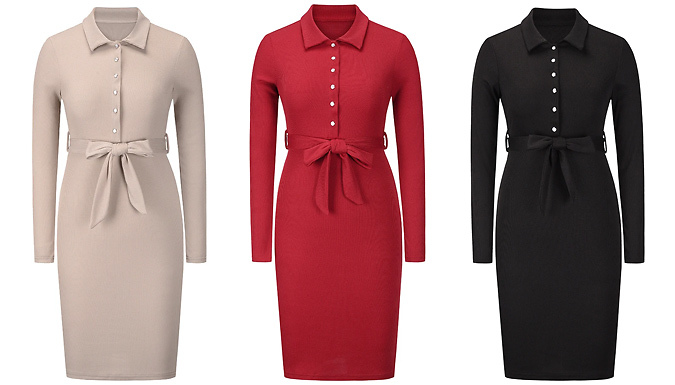 Half Open Collar Ribbed Slim Fitting Dress - 4 Colours & 5 Sizes