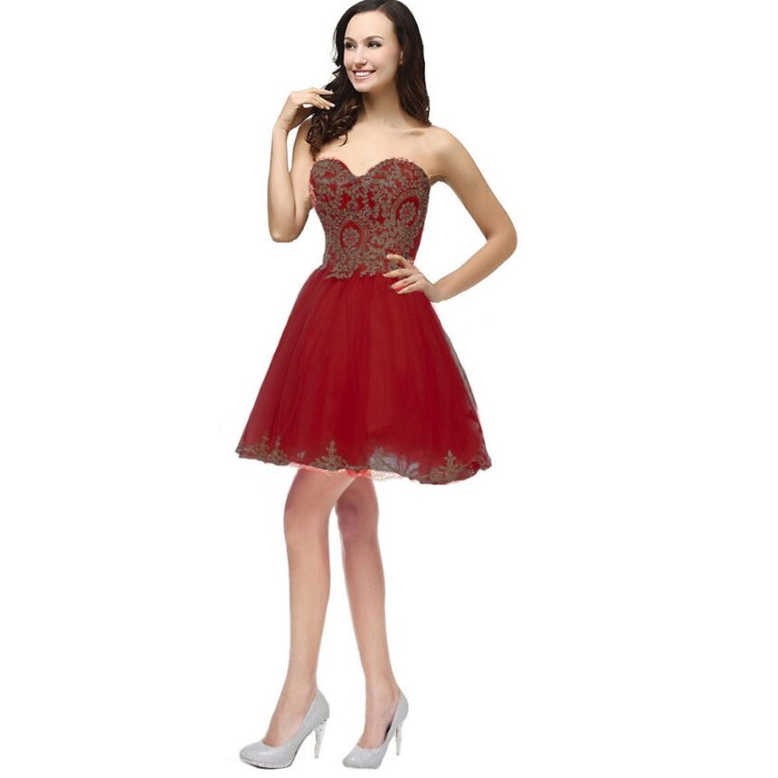 Kivary Gold Lace Crystals Short Tulle Corset Prom Homecoming Cocktail Party Dres