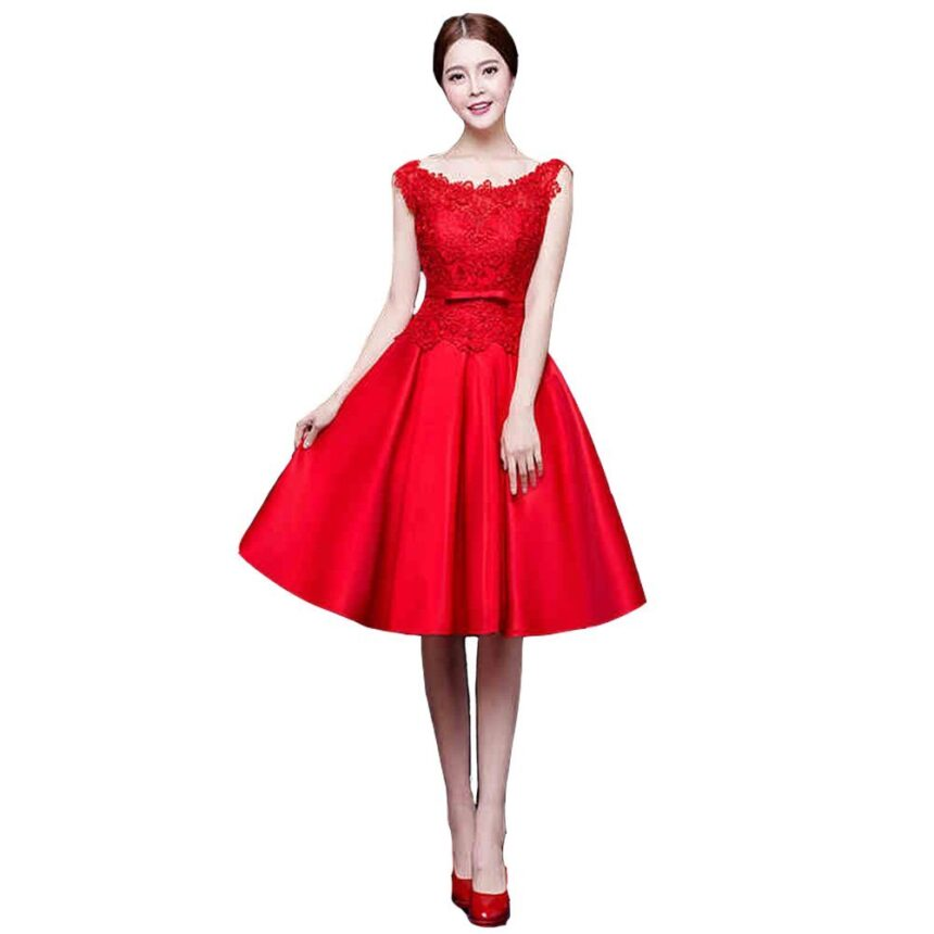 Kivary Sheer Knee Length Lace A Line Short Prom Cocktail Party Dresses Red US 2