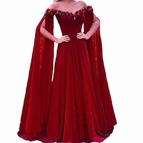 Plus Size Off The Shoulder Long Sleeves Cape Prom Evening Dress Wine Red US 18W