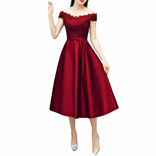 Satin and Lace Short Tea Length A Line Prom Dress Homecoming Wine Red US 6