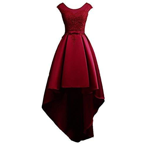 Scoop Neck Lace and Satin Formal High Low Prom Homecoming Dress Wine Red US 2