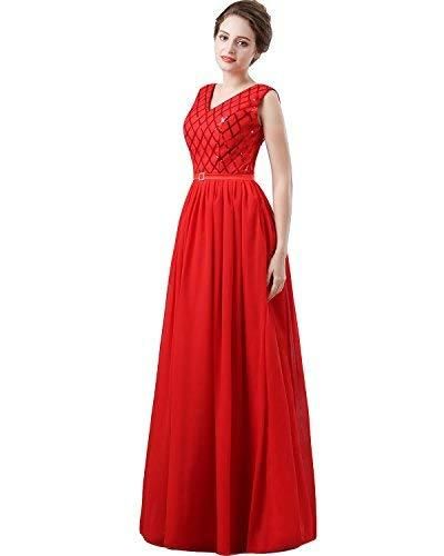 V Neck Long Sequined Chiffon A Line Corset Prom Evening Dresses Red US 14